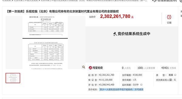 无人竞拍!贾跃亭的世茂工三流拍:23亿起拍 4.7万次围观无人出价