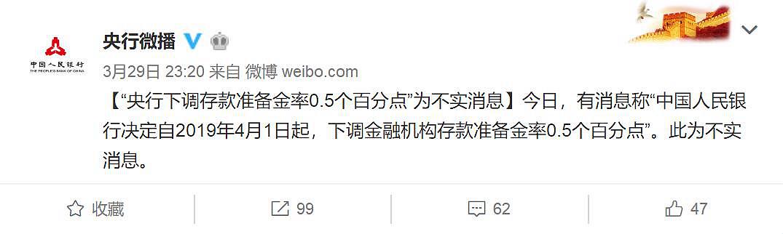 将下调金融机构存款准备金率0.5%?央行紧急辟谣rule.taobao